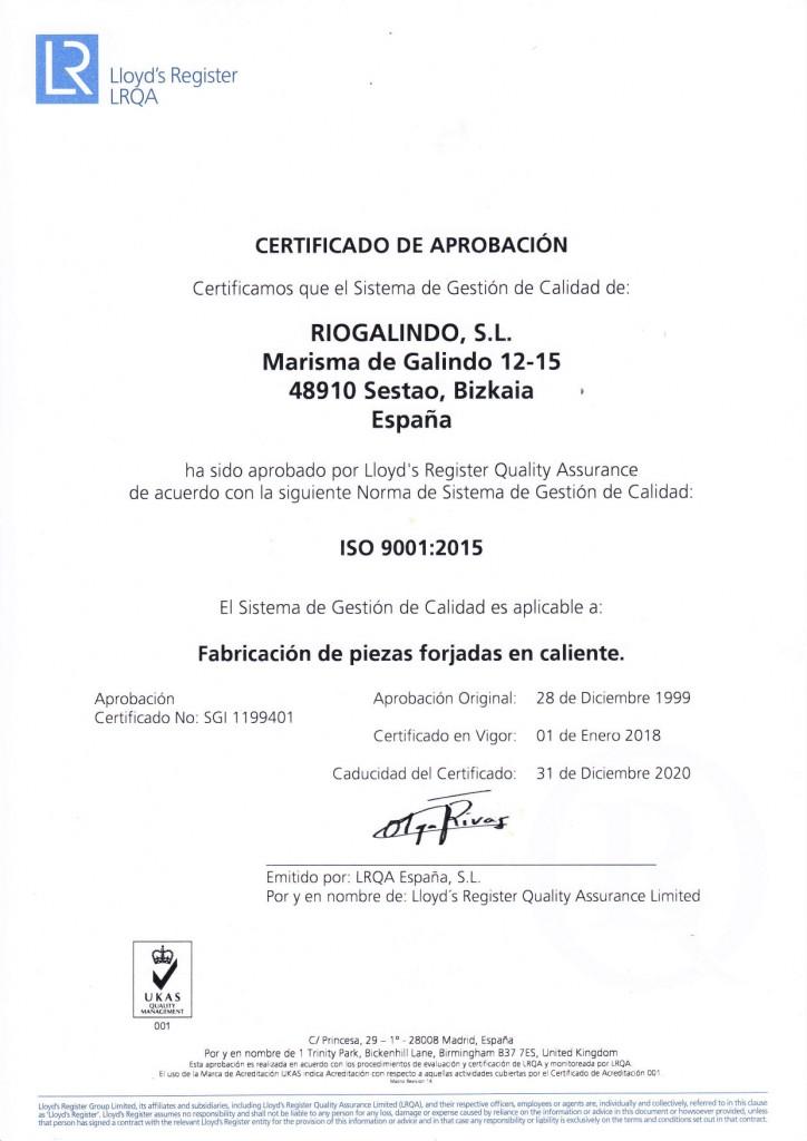 CERTIFICADO ISO 9001 ES